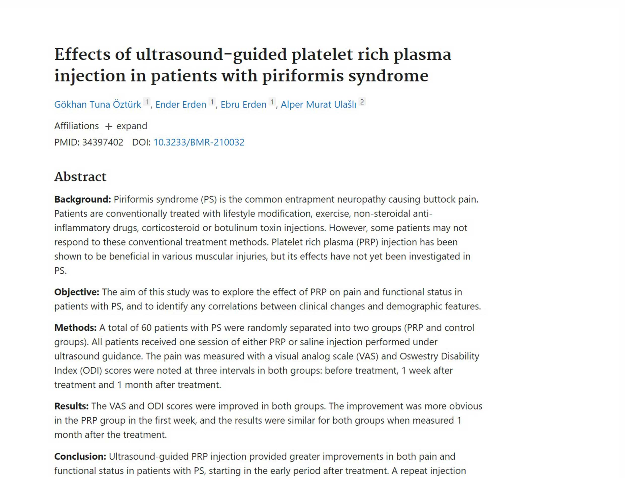 Effects of ultrasound-guided platelet rich plasma injection in patients with piriformis syndrome